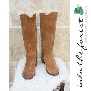 Naughty Monkey Tan Suede Leather Boho Boots Size 6